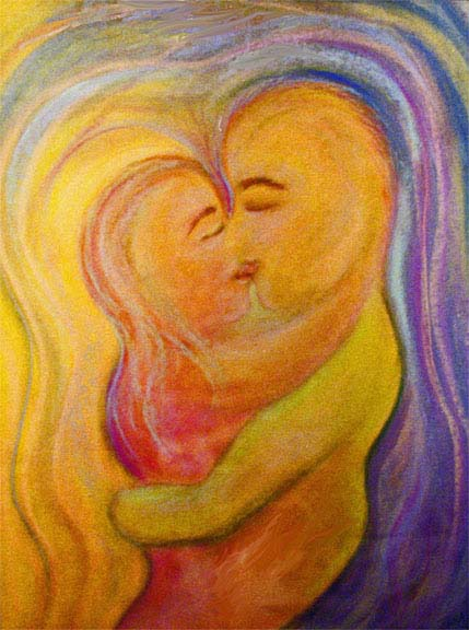The Kiss pastel drawing by Zoras Garden Lore Stephan