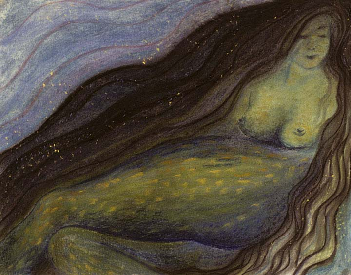 Mermaid pastel drawing by Zoras Garden Lore Stephan
