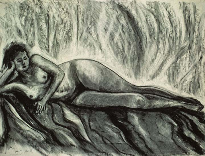 Odalesque charcoal drawing by Zoras Garden Lore Stephan