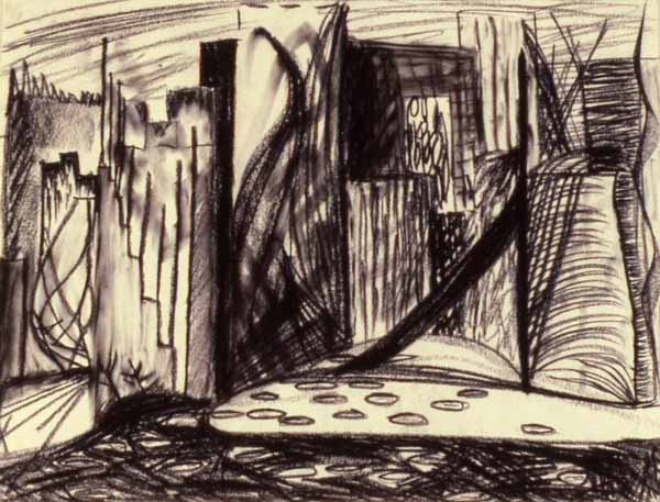 Cityscape charcoal drawing Zoras Garden Lore Stephan