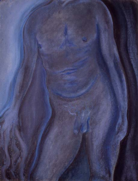 Blue Torso pastel drawing Zoras Garden Lore Stephan