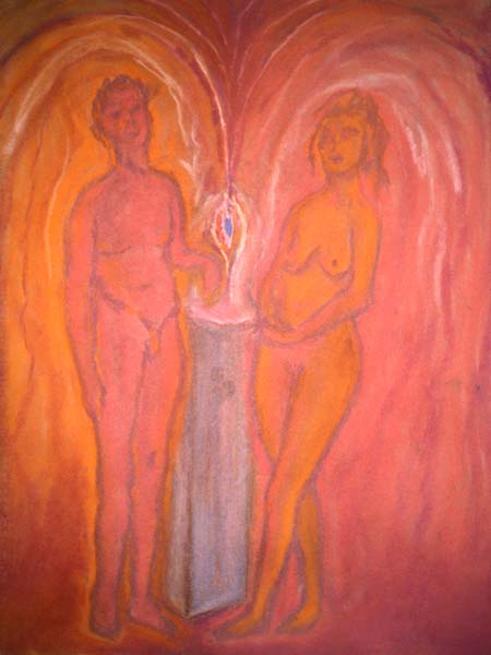 Pair pastel drawing Zoras Garden Lore Stephan