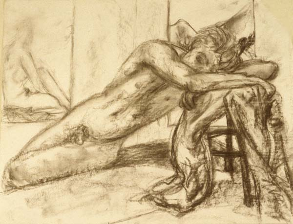 Resting Beauty charcoal drawing Zoras Garden Lore Stephan