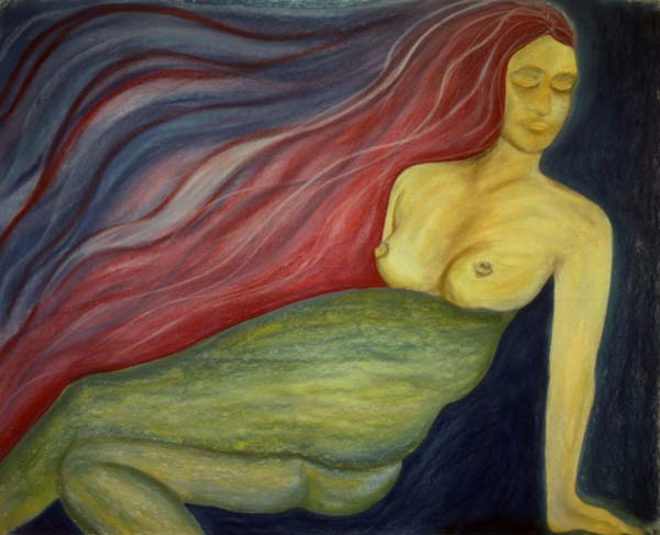 Sea Woman pastel drawing Zoras Garden Lore Stephan