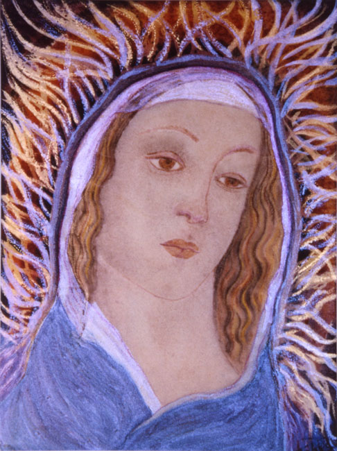 Homage to Bottecelli watercolor painting by Zoras Garden Lore Stephan
